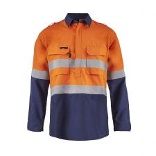 Torrent HRC2 Mens Hi Vis Two Tone Close Front Shirt with Gusset Sleeves and FR Reflective Tape