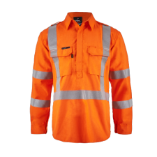 Torrent HRC2 Mens Hi Vis Close Front Shirt with Gusset Sleeves with X-pattern FR Reflective Tape